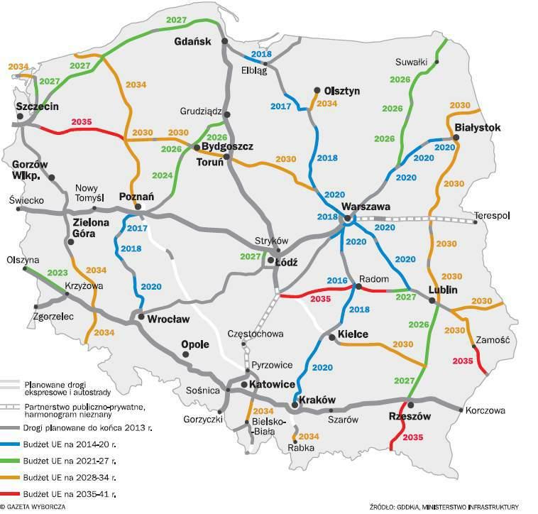 Plan budowy autostrad w Polsce do 2041 roku - źródło: Wyborcza.biz